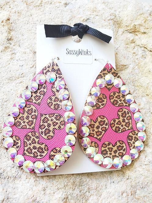 Cheetah Hearts Sparkle Teardrops (138)