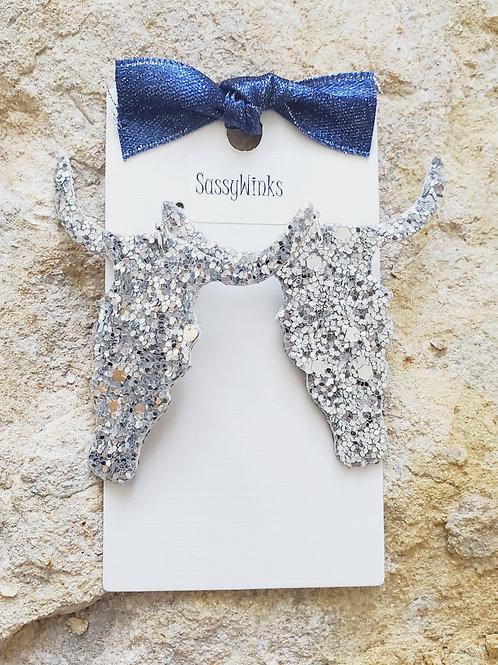 Silver Glitter Longhorns (285)