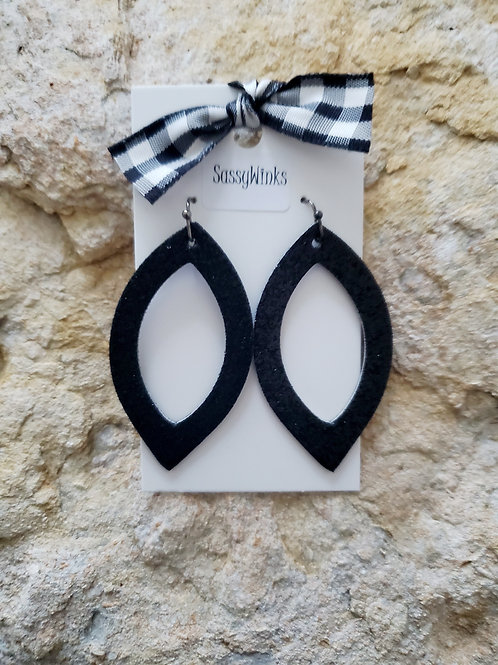 Black Glitter Open Ovals (675)