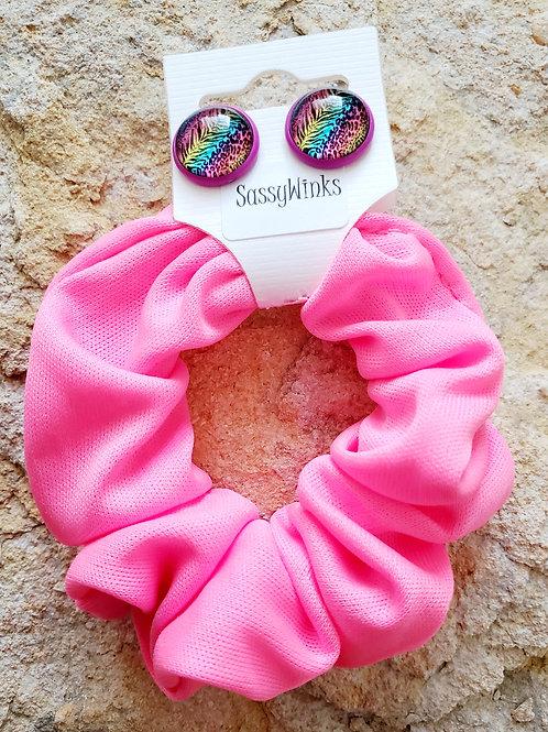 Neon Pink Scrunchie & Stud Set