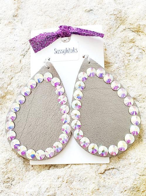 Silver Shimmer Sparkle Teardrops (430)