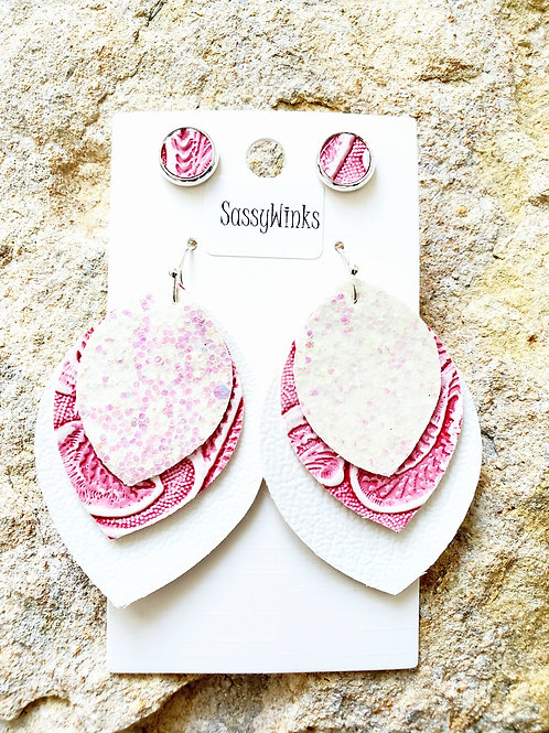 Pink Glitter Triple Layered Teardrops & Studs (292)