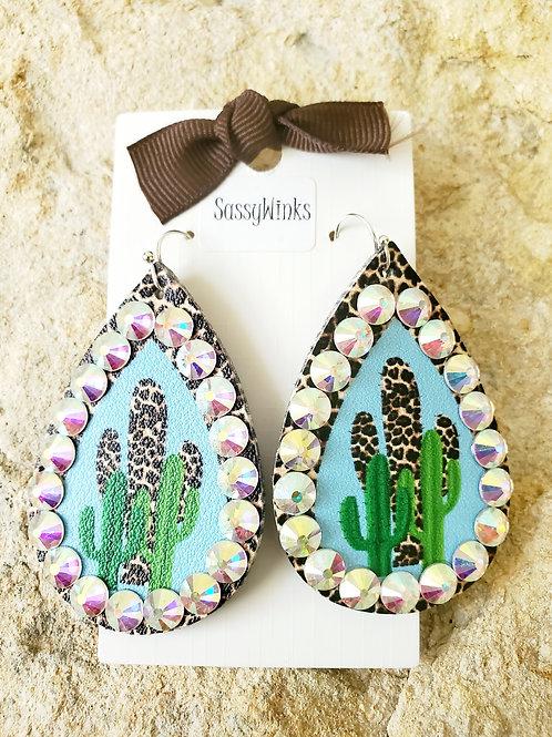Cactus Cheetah Sparkle Teardrops (689)