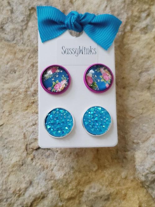 Pink & Blue Floral Studs (628)