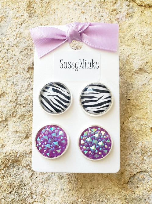 Zebra & Purple Studs (254)