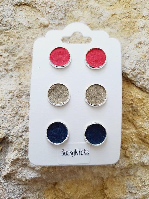 Red Tan Blue Glitter Studs (301)