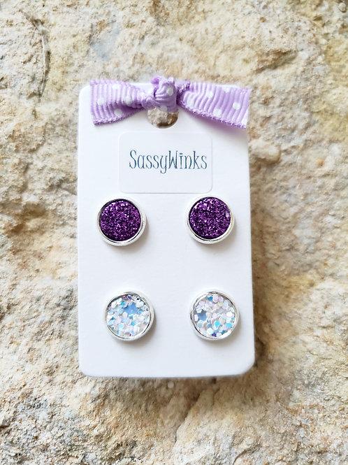 Purple Glitter Studs (277)