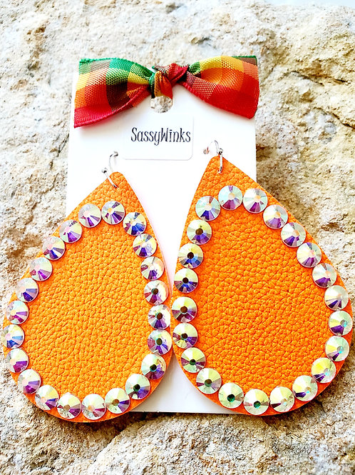 Neon Orange Sparkle Teardrops (200)