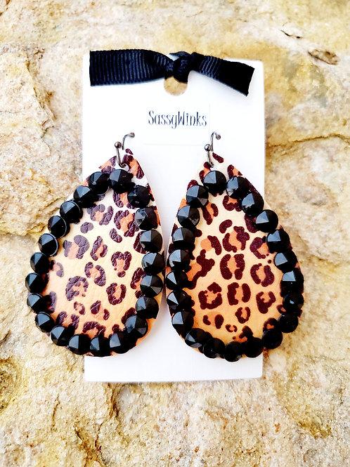 Black Cheetah Sparkle Teardrops (475)