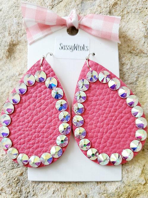 Pink Sparkle Teardrops (418)