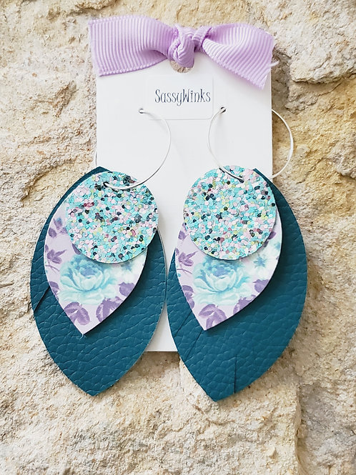 Layered Hoops - Teal Floral (788)