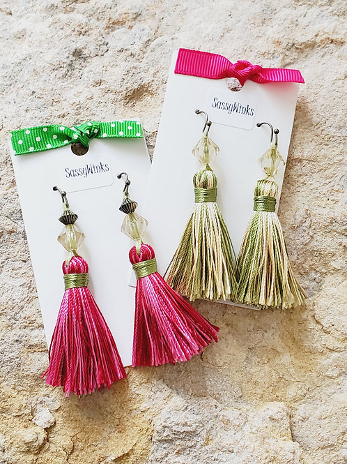Lime Green & Pink Summer Tassel Set
