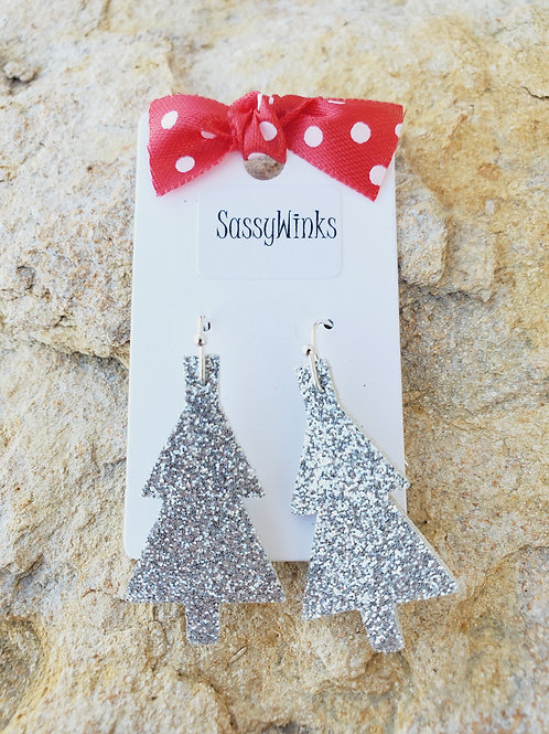 Silver Glitter Christmas Tree Minis (676)