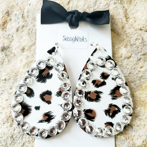 White Cheetah Sparkle Teardrops (574)