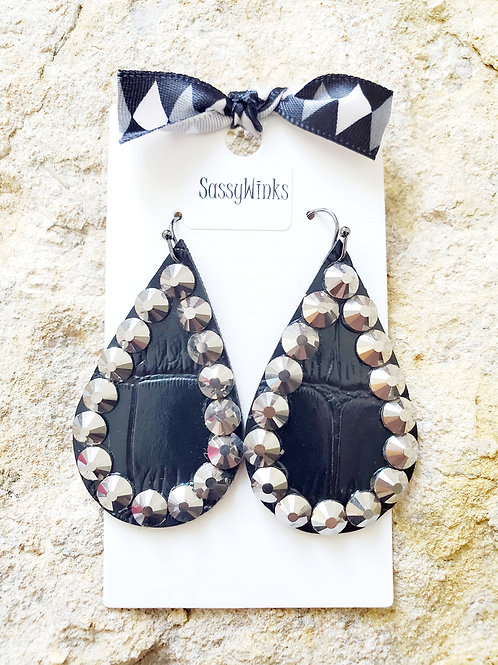 Black Sparkle Teardrops (299)