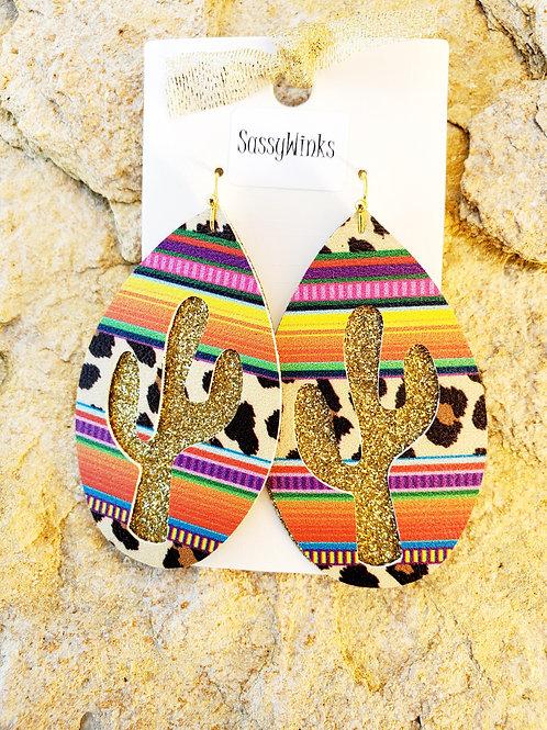 Gold Leopard Serape Cactus Layered Teardrops (306)
