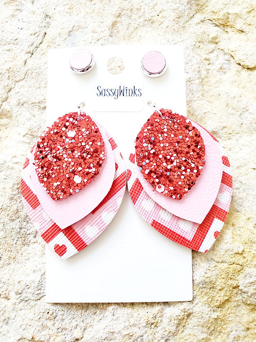 Valentine Hearts Glitter Triple Layered Teardrops & Studs (315)