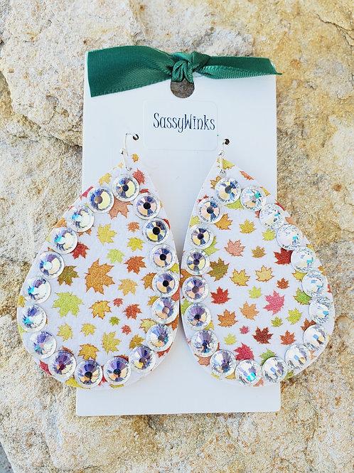 Multicolor Leaves Sparkle Teardrops (673)