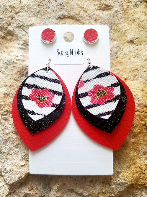 Red Floral Triple Layered Teardrops & Studs (114)