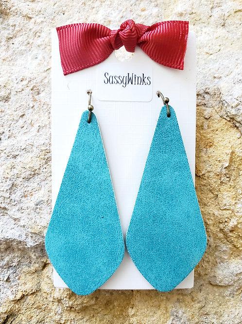 Turquoise Slender Teardrops (243)