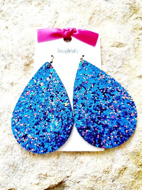 Blue Glitter Teardrops (306)