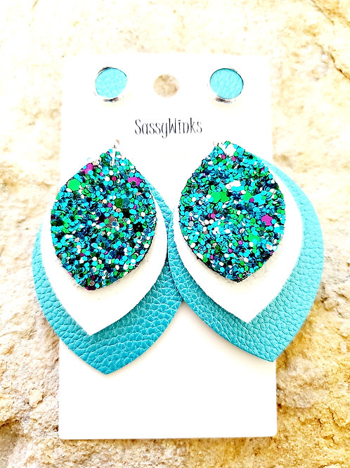 Teal Glitter Triple Layered Teardrops & Studs (348)