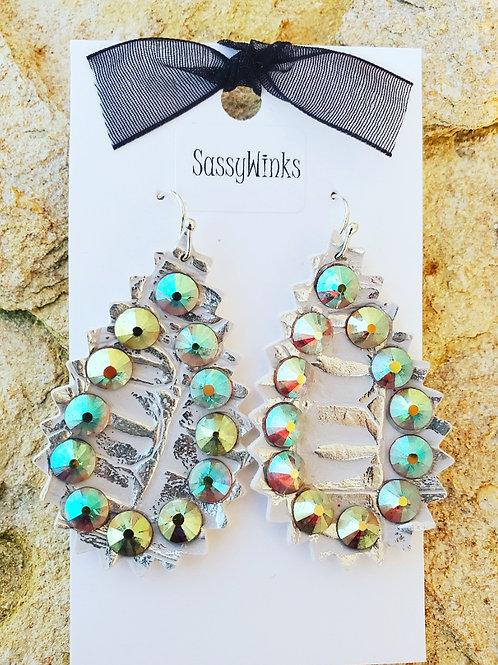 Silver Sparkle Teardrops (525)