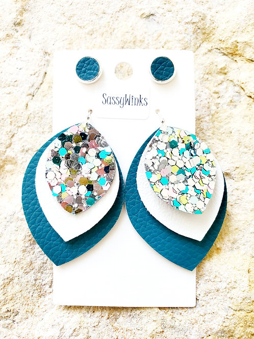 Teal Glitter Triple Layered Teardrops & Studs (211)
