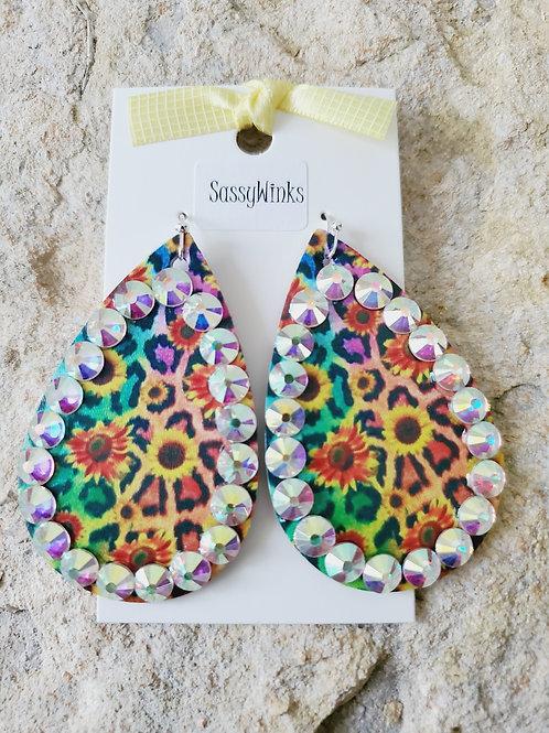 Multicolor Sunflower Sparkle Teardrops (486)