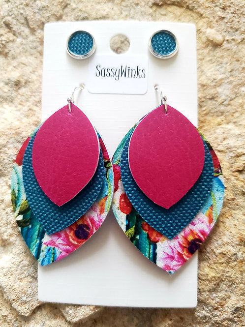 Cactus Triple Layered Teardrops & Studs (270)
