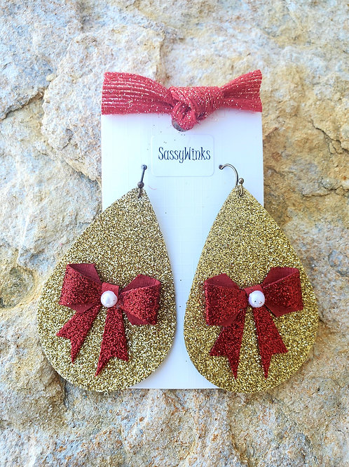 Gold Glitter Bow Teardrops (417)