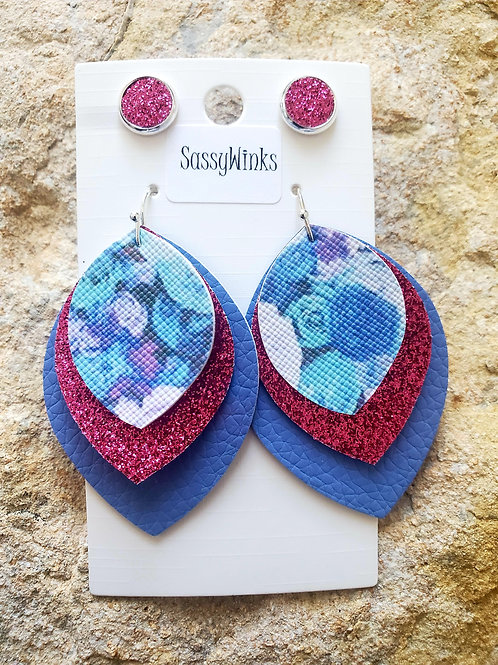 Floral Triple Layered Teardrops & Studs (535)