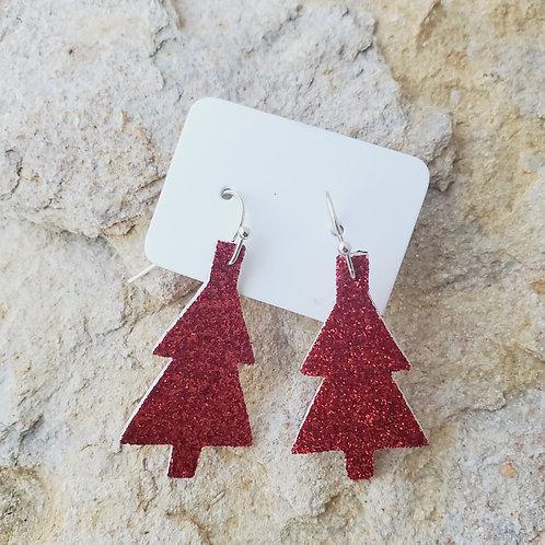 Red Glitter Christmas Tree Minis (687)