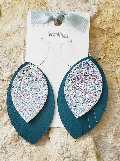 Layered Hoops - Teal Sparkle (468)