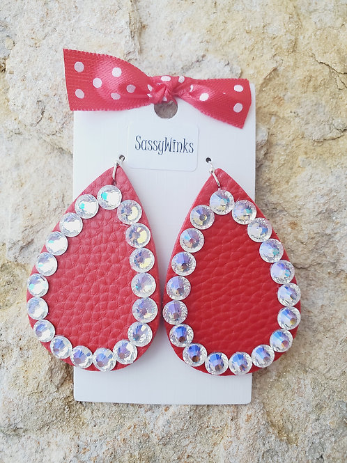 Christmas Red Sparkle Teardrops (662)
