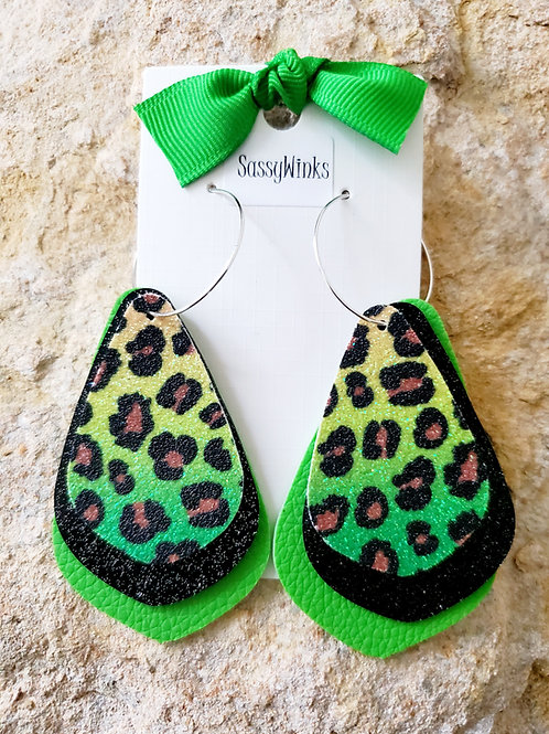 Layered Hoops - Lime Cheetah Glitter (700)