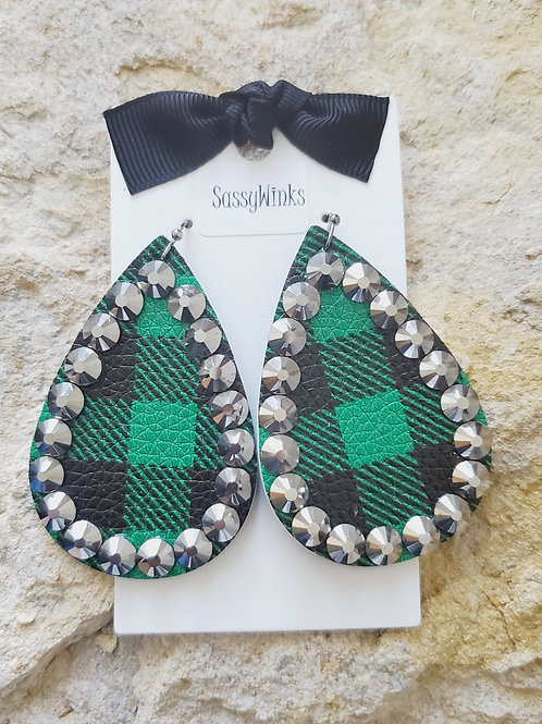 Green Plaid Sparkle Teardrops (160)