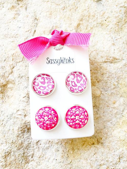 Cheetah & Pink Studs (407)
