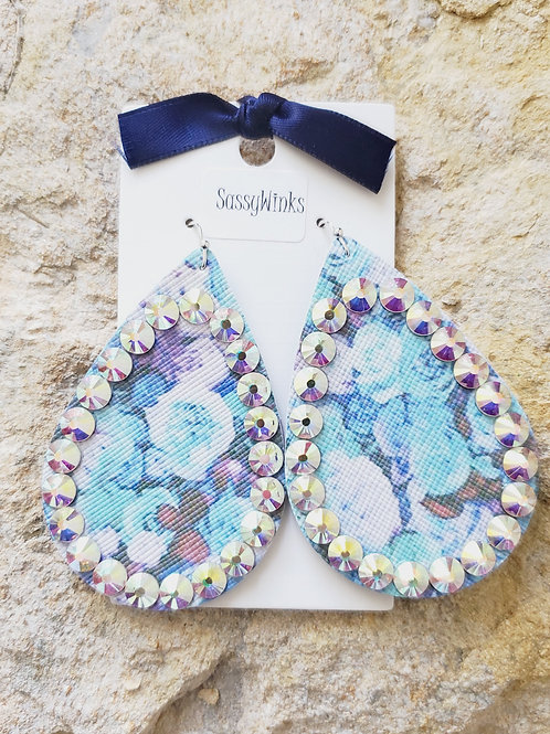 Blue Floral Sparkle Teardrops (429)