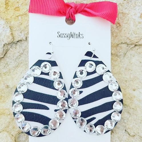 Zebra Sparkle Teardrops (269)