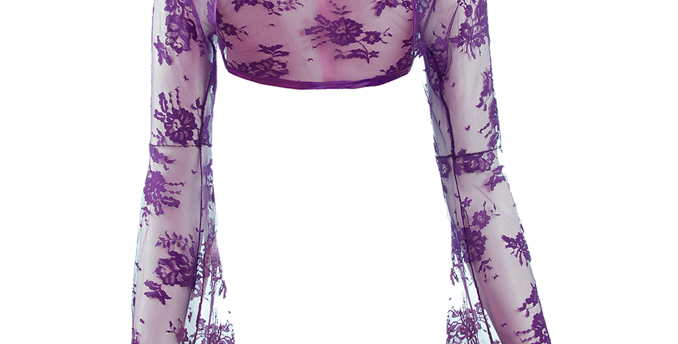 Violet Lace Bolero - Bell Sleeve