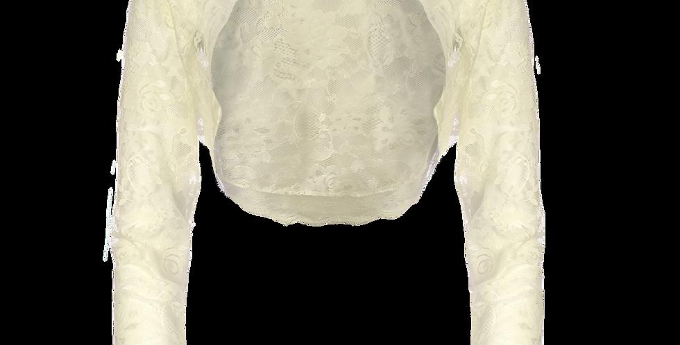 Ivory Lace Bolero - Long Straight Sleeve