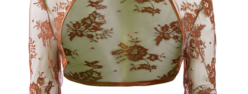 Milk Chocolate Lace Bolero -  ¾ Sleeve