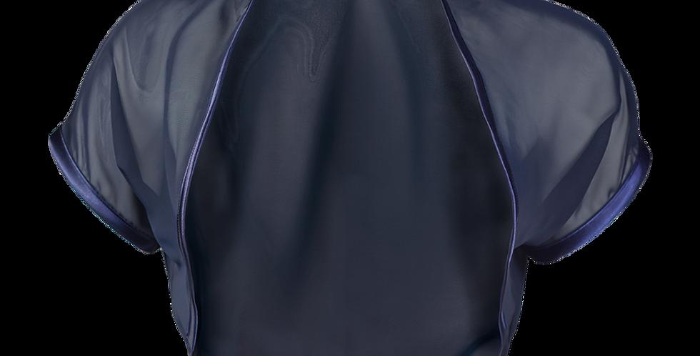 Navy Blue Chiffon Bolero - Short Sleeve