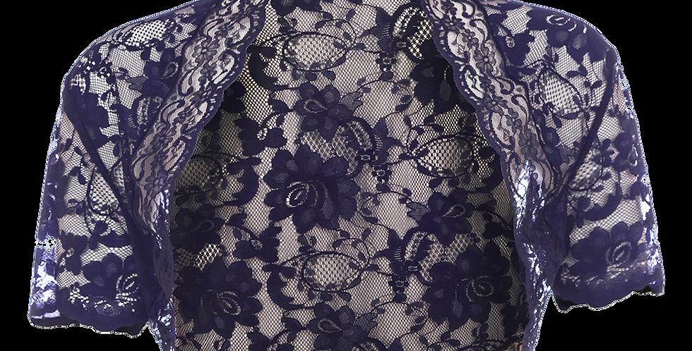 Navy Blue Lace Bolero - Short Sleeve