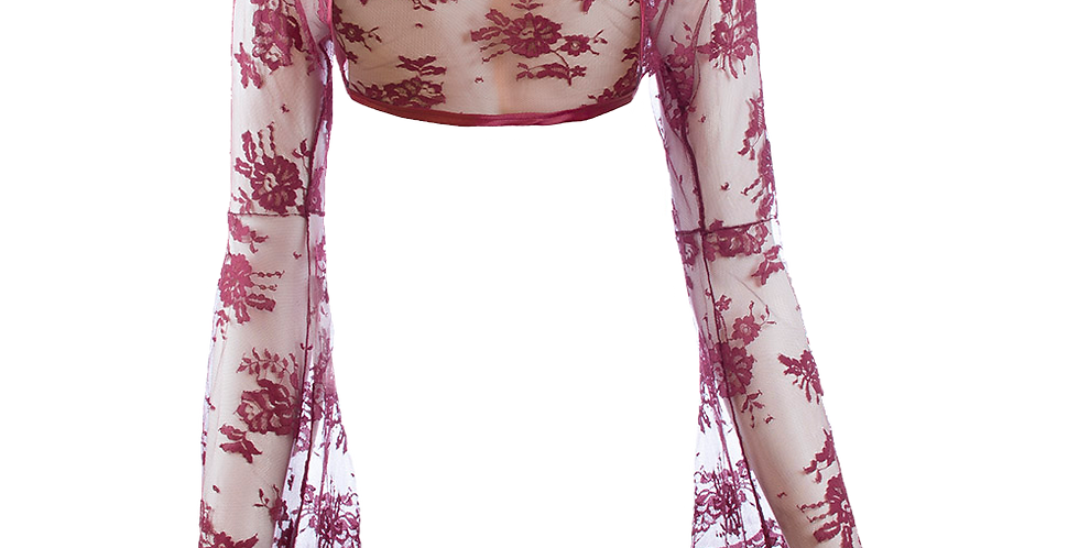Wine Lace Bolero - Bell Sleeve
