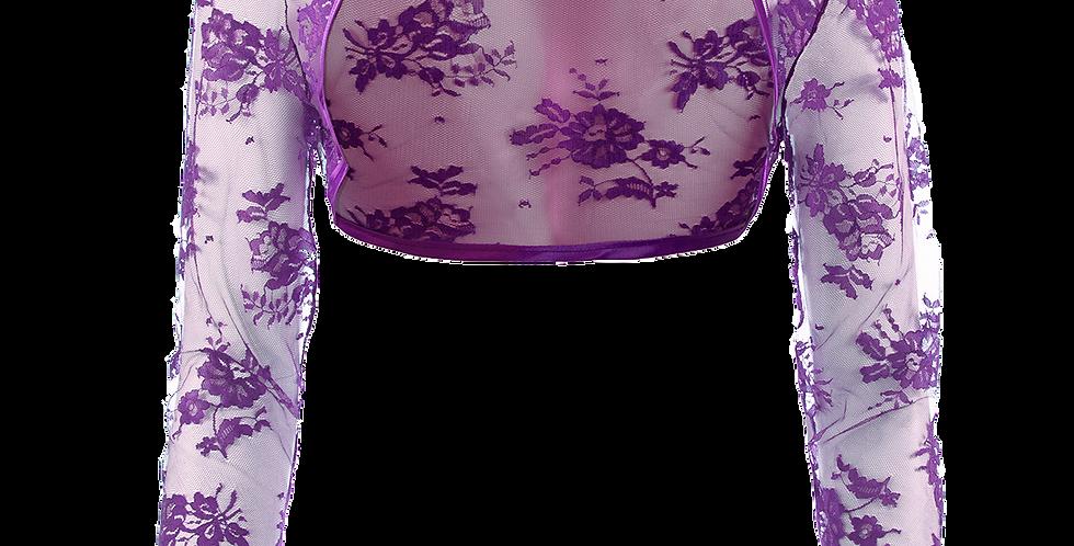 Violet Lace Bolero -  Long Straight Sleeve
