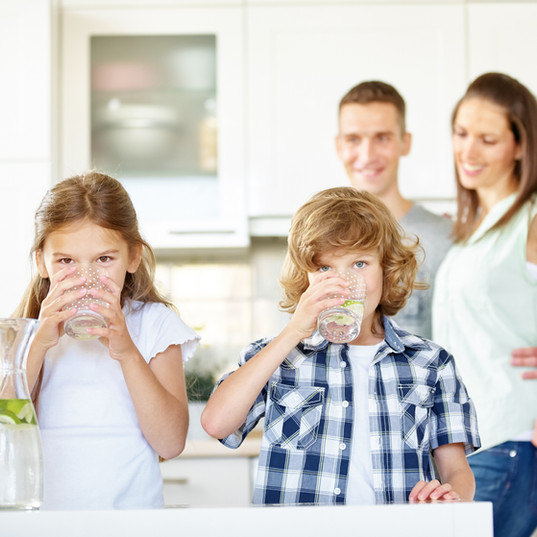 Family Drinking Healthy Water