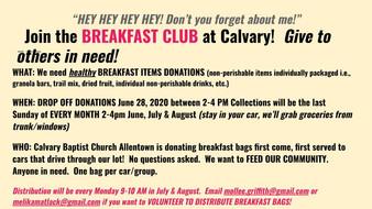 Reminder:  Breakfast Club Donation Drive - June 28th