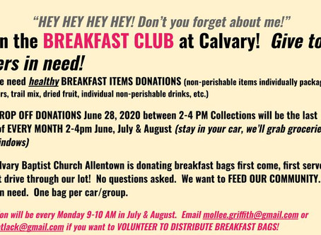 Reminder:  Breakfast Club Donation Drive - June 28th